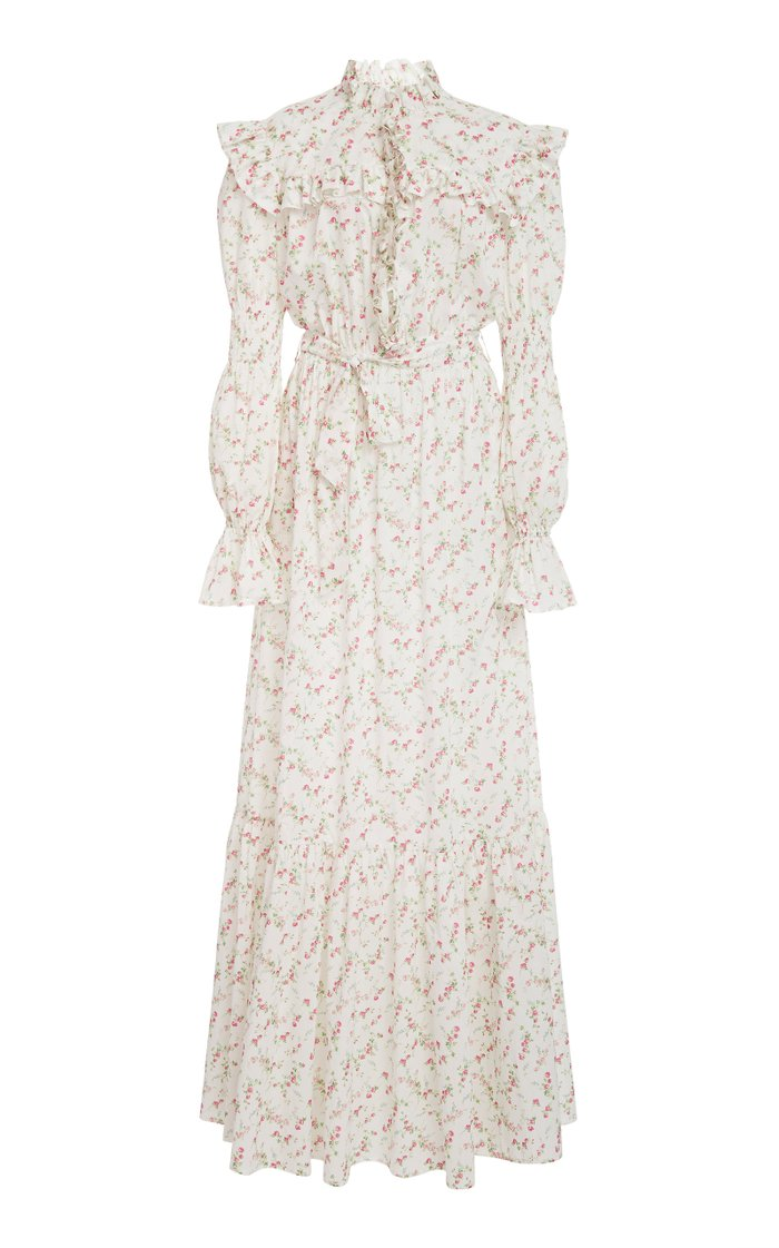 Ruffled Floral-Print Cotton Maxi Dress