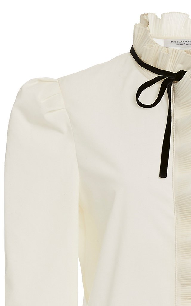 Tie-Detailed Ruffled Crepe Blouse