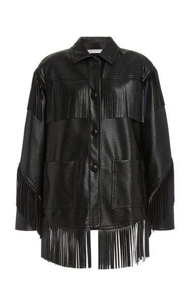 Fringed Faux Leather Jacket