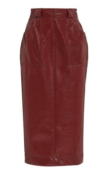 Vegan Leather Midi Skirt