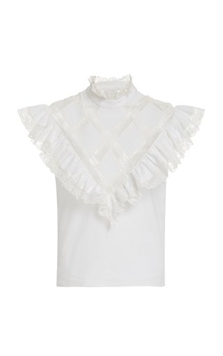 Lace-Trimmed Ruffled Cotton Top