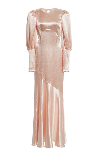 Hammered-Satin Maxi Dress