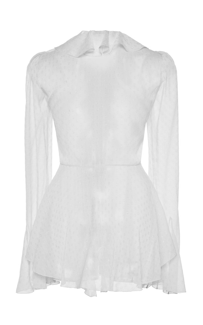 Tie-Detailed Ruffled Fil Coupé Top