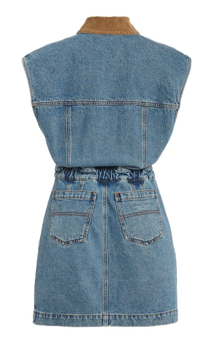 Corduroy-Trimmed Denim Mini Dress