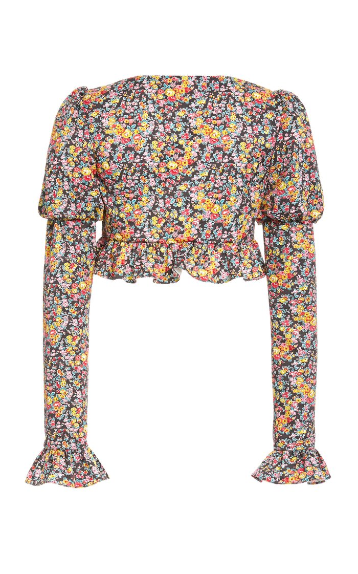 Cropped Printed Stretch-Cotton Top
