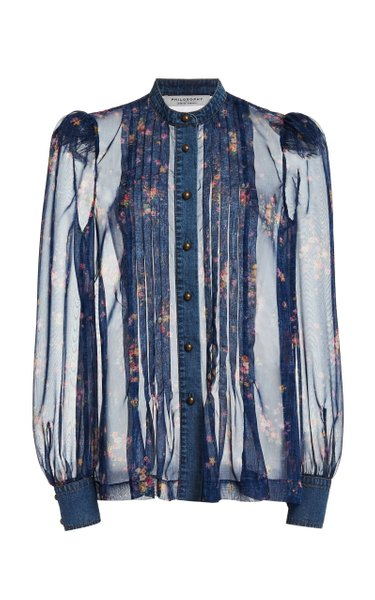 Denim-Detailed Pleated Floral Chiffon Top