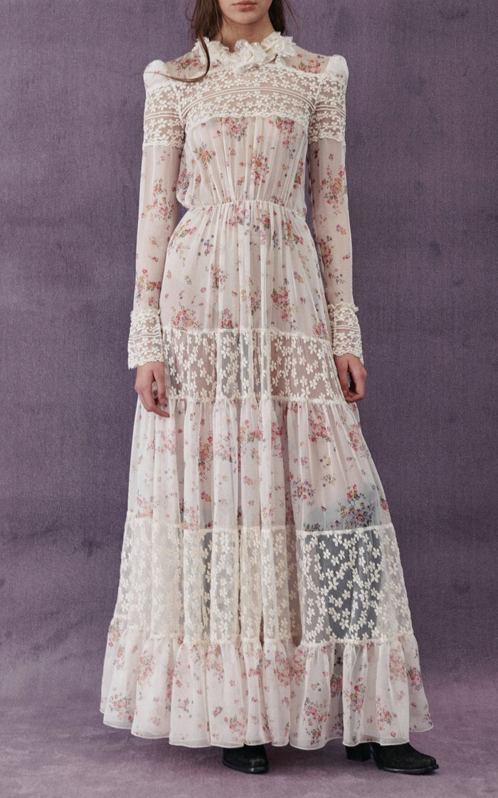 Lace-Detailed Floral Chiffon Gown