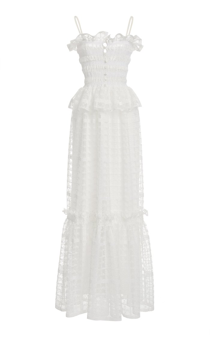 Lace-Trimmed Shirred Tulle Peplum Maxi Dress