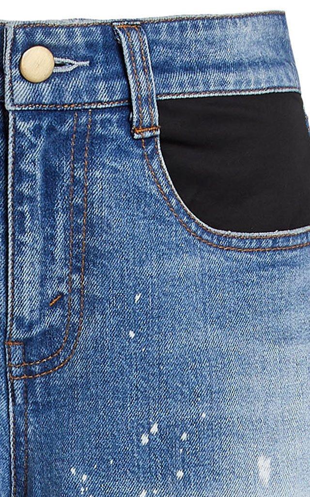 Mcaulay Tiger-Patch Distressed Straight-Leg Jeans