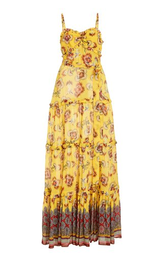 Lussa Ruffled Printed Chiffon Maxi Dress