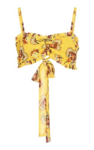 Alma Ruffled Floral-Print Chiffon Top