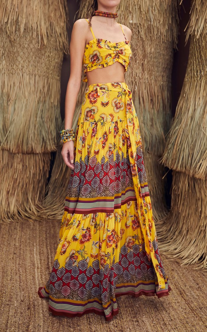 Erris Floral-Print Crepe Maxi Skirt