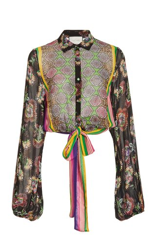 Betony Tie-Detailed Printed Chiffon Blouse