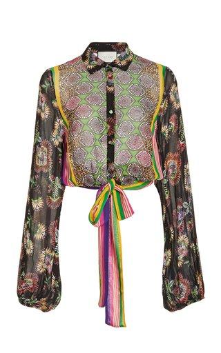 Betony Tie-Detailed Printed Chiffon Blouse
