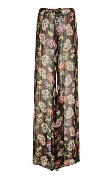 Ikdea Printed Chiffon Wide-Leg Pants