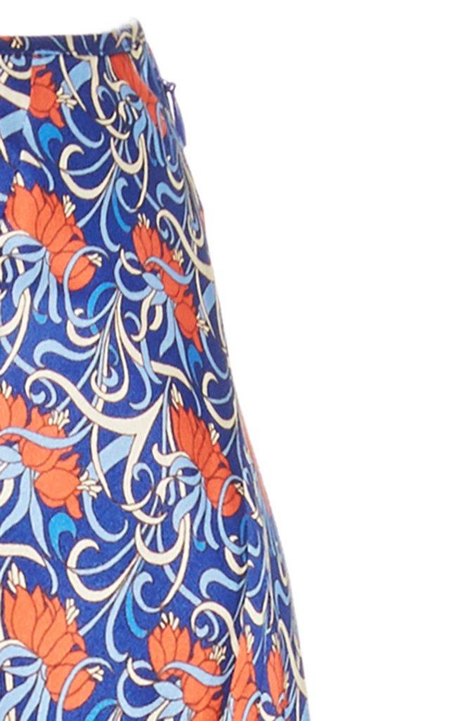Serodie Printed Satin Midi Skirt