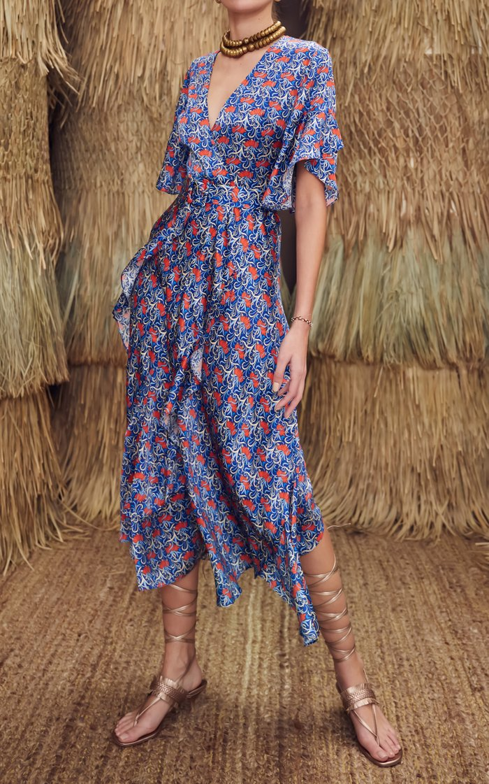 Alleria Printed Chiffon Midi Dress
