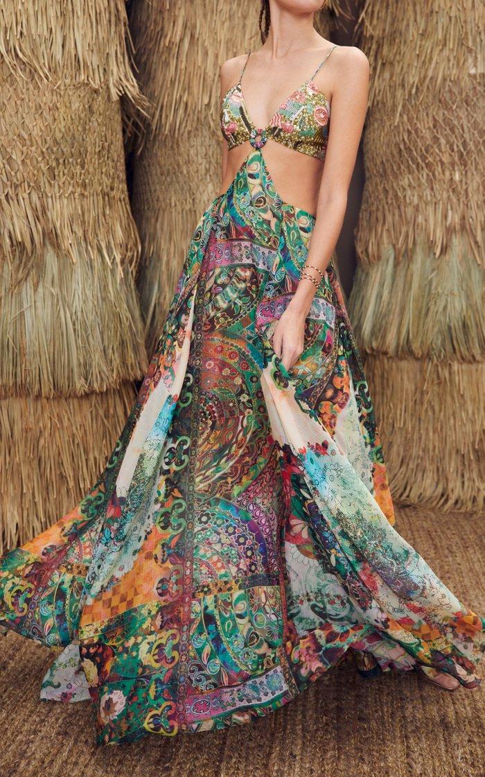Marteena Cutout Printed Chiffon Maxi Dress