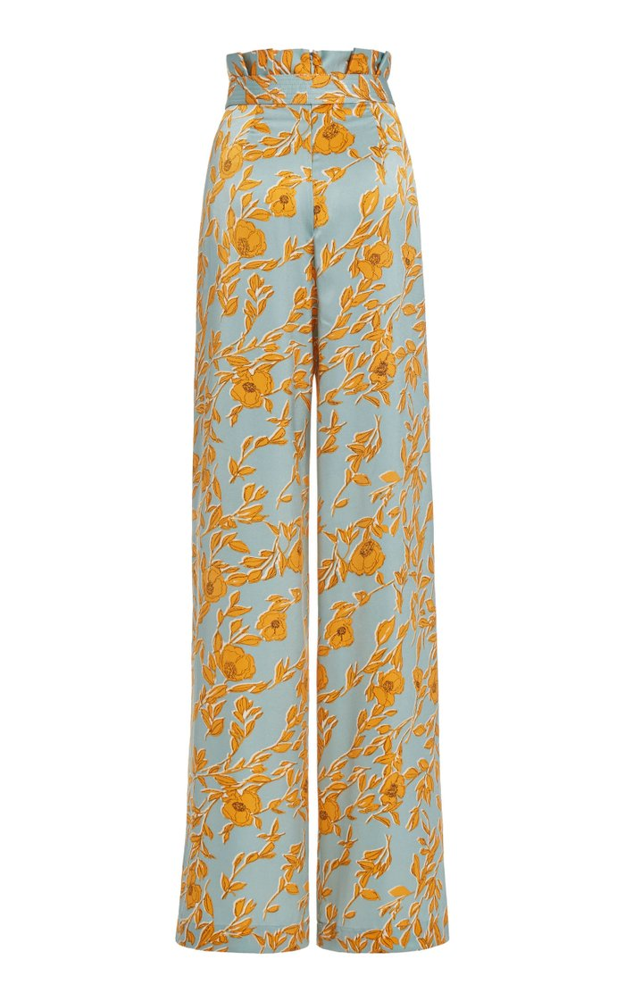 Olan Floral-Print Satin Wide-Leg Pants