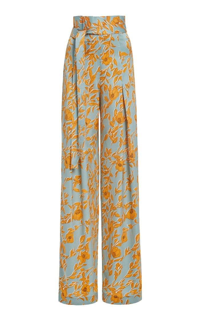 Olan Floral-Print Satin Wide-Leg Pants