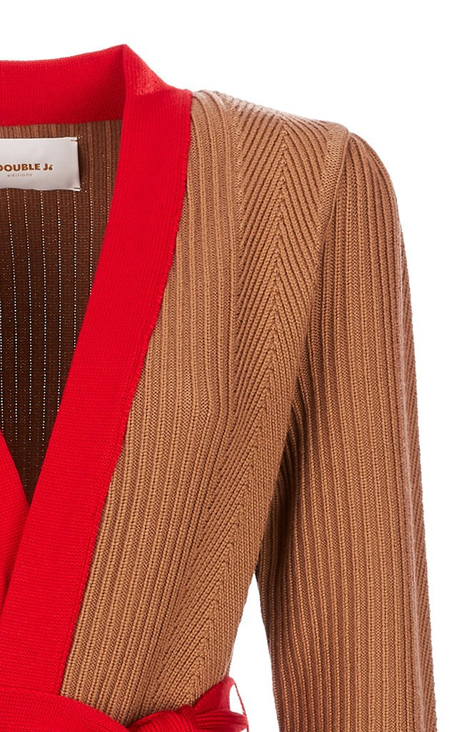Nonna Two-Tone Ribbed-Knit Cardigan