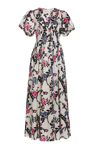 Persephone Floral-Print Silk Maxi Dress
