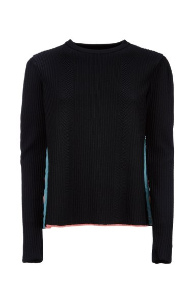 Super Pleated Satin-Wool Sweater