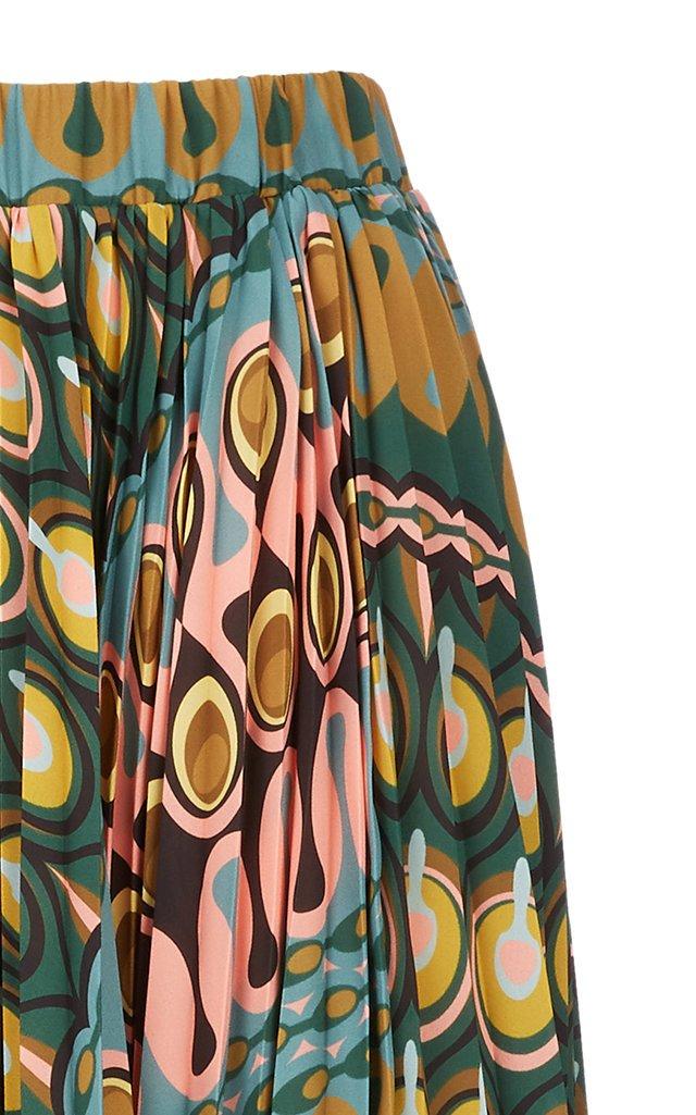 Soleil Printed Plisse Skirt