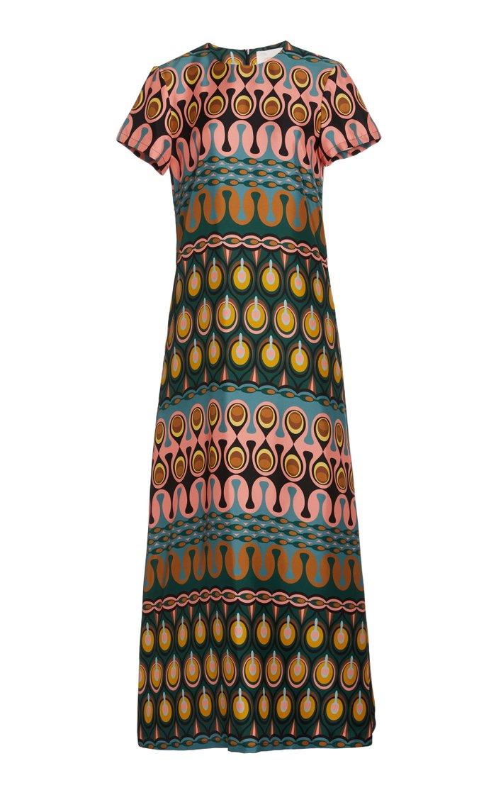 Swing Printed Silk Maxi Dress