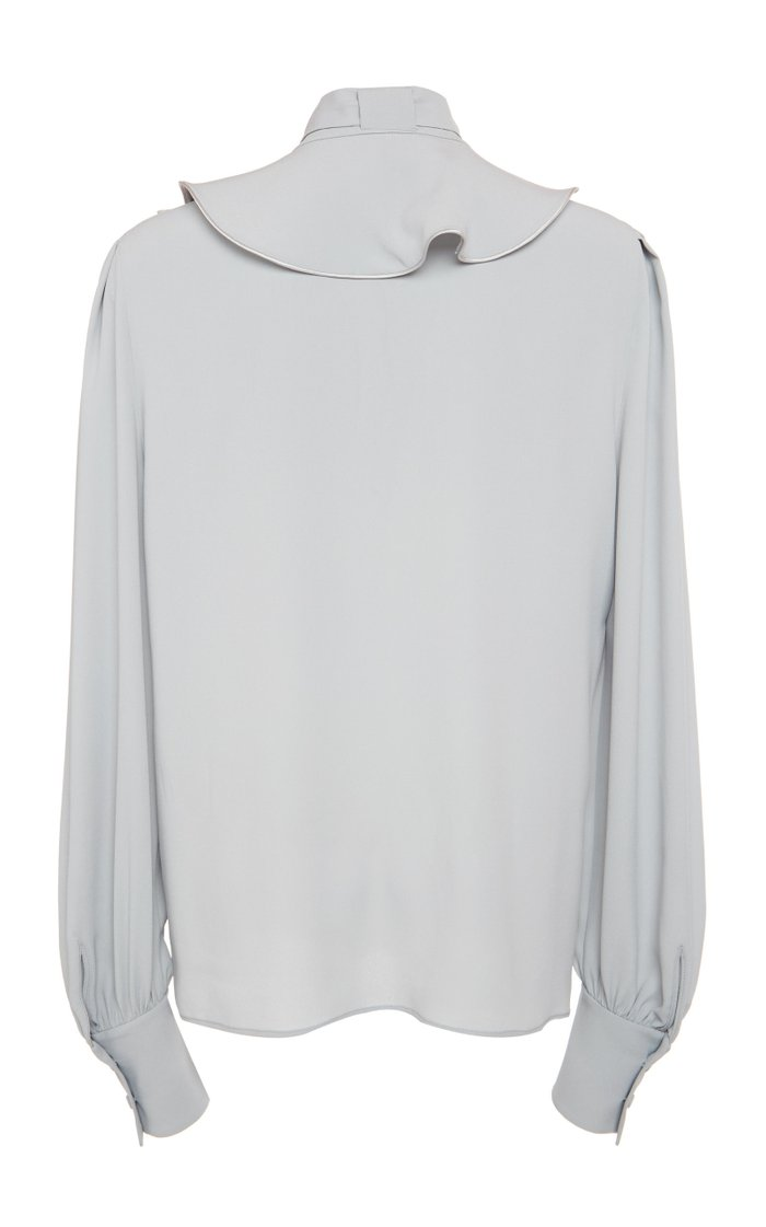 Crepe De Chine Blouse With Ruffle