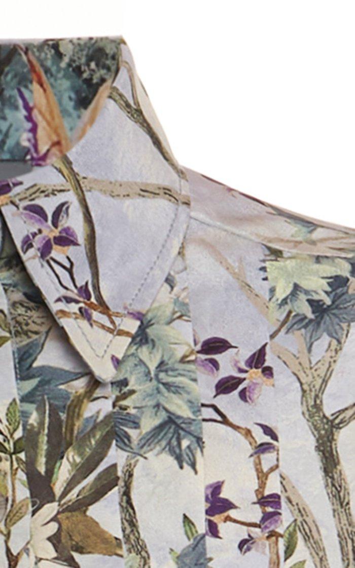 Floral Crepe De Chine Shirt Dress