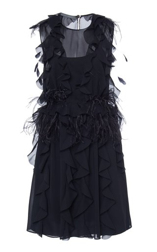 Feathered Chiffon Mini Dress