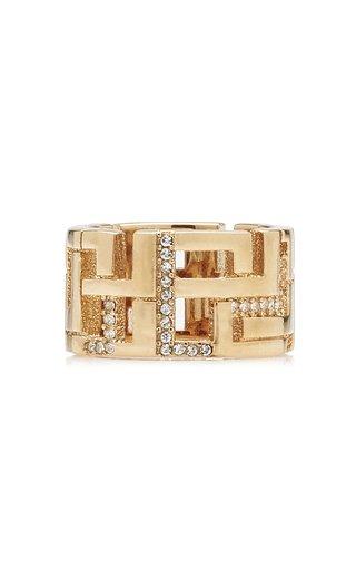 Leda Madera Goldie Crystal-embellished Gold-plated Brass Ring