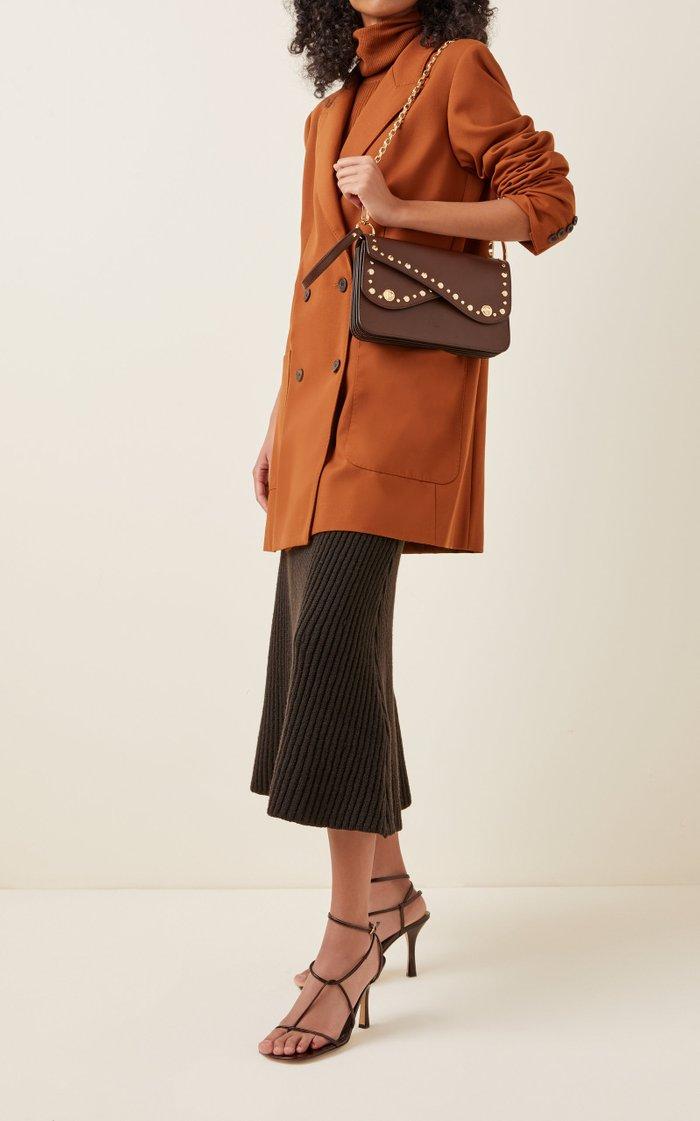 Stud-Embellished Leather Shoulder Bag