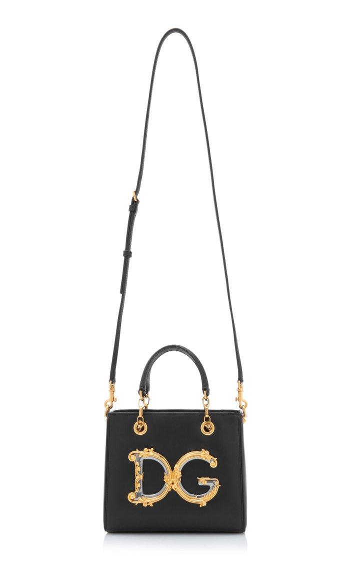 Logo-Embellished Leather Handbag