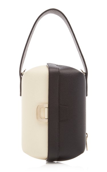 Tric Trac Two-Tone Leather Top Handle Bag
