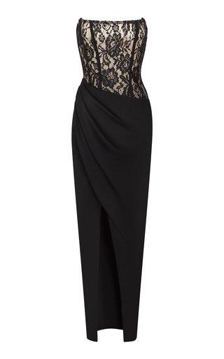 Draped Lace And Crepe Maxi Dress