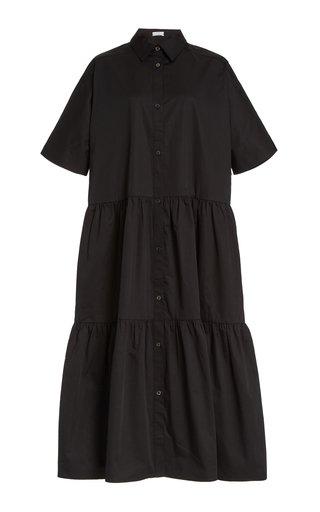 Tiered Cotton Poplin Midi Shirt Dress