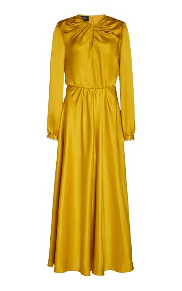 Pearl-Embellished Silk-Charmeuse Maxi Dress