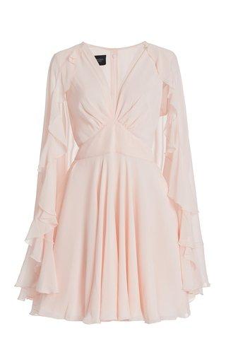 Ruffled Silk Mini Cape Dress
