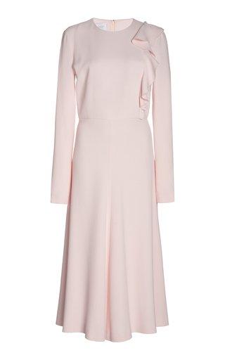 Ruffled Crepe Midi Dress