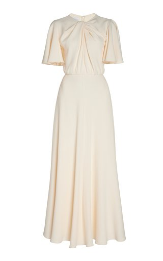 Twist-Detailed Crepe Maxi Dress