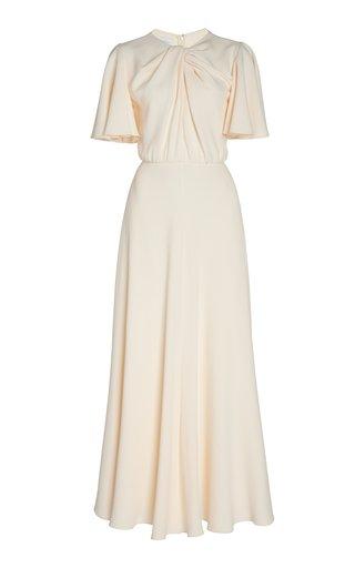 Twist-Detailed Crepe Maxi Dress