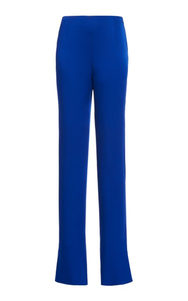 Slashed Stretch Crepe Skinny Trousers