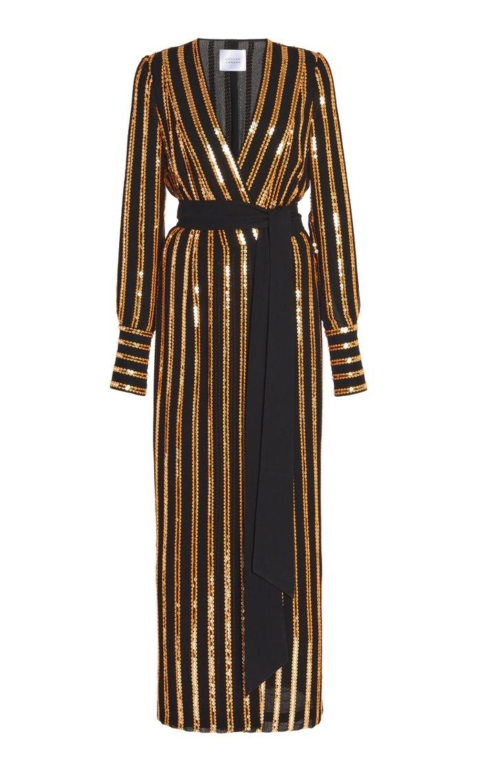 Pride Sequin-Embellished Crepe Wrap Dress