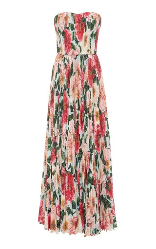 Pleated Camellia-Print Silk Strapless Gown