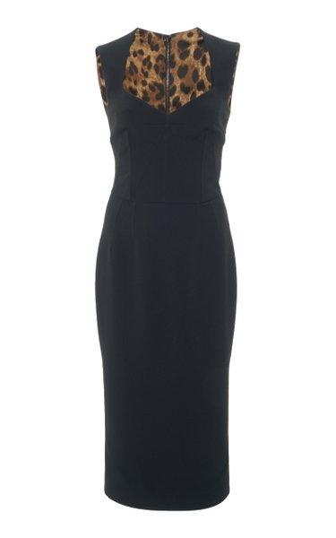 Sweetheart-Neckline Wool-Blend Midi Dress
