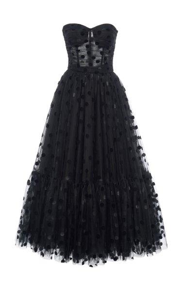 Flocked Polka-Dot Tulle Strapless Cocktail Dress