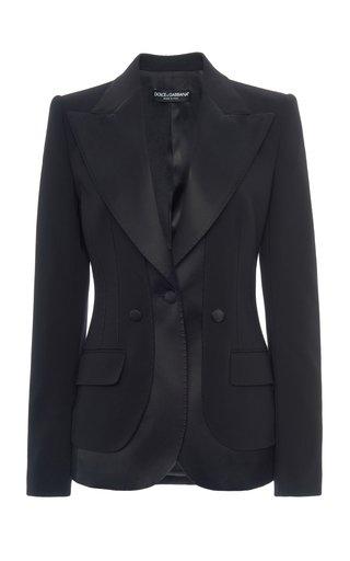 Satin-Trimmed Wool-Blend Blazer