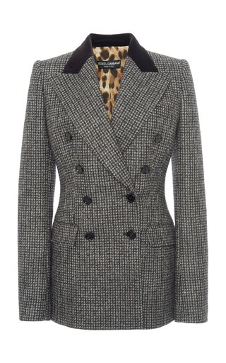 Plaid Double-Breasted Wool-Blend Blazer